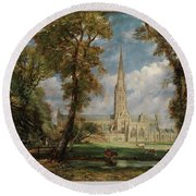 Salisbury Cathedral From The Bishop Grounds Round Beach Towel