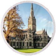 Salisbury Cathedral Round Beach Towel