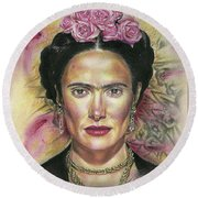 Salma Hayek As Frida Kahlo Round Beach Towel