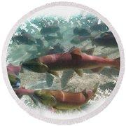 Salmon Migration Round Beach Towel
