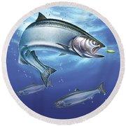 Salmon Painting Round Beach Towel