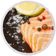 Salmon Steak And Spices Round Beach Towel