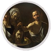 Salome Receives The Head Of Saint John The Baptist Round Beach Towel