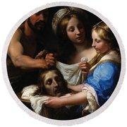Salome With The Head Of Saint John The Baptist Round Beach Towel by Onorio Marinari