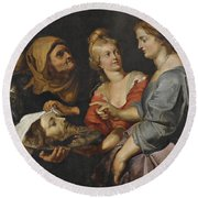 Salome With The Head Of St. John The Baptist Round Beach Towel