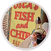 Salt And Vinegar Round Beach Towel by Chris Lord