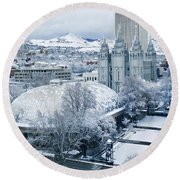 Salt Lake City Tabernacle And Temple Round Beach Towel