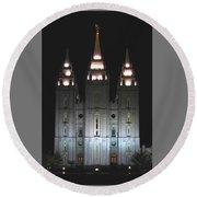 Salt Lake City Temple At Night Round Beach Towel