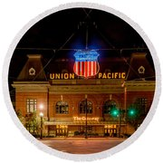 Salt Lake City Union Pacific Depot Round Beach Towel