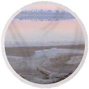 Salt Lake Sunset Round Beach Towel