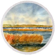 Salt Marsh And Snow Geese Round Beach Towel
