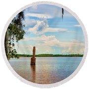 Salt Mine Disactor Monument Jefferson Island Louisiana  Round Beach Towel