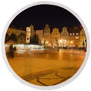 Salt Square In Wroclaw At Night Round Beach Towel