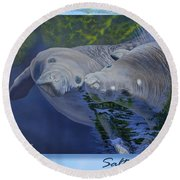 Salt Water Ballet - Manatees - 2 Round Beach Towel