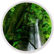 Salto Do Prego Waterfall Round Beach Towel