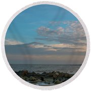 Salty Air Over Breach Inlet Round Beach Towel