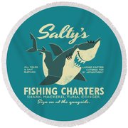 Salty's Fishing Charters Round Beach Towel