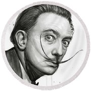 Salvador Dali Portrait Black And White Watercolor Round Beach Towel