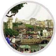 Salvador's Old Port At Noon Round Beach Towel