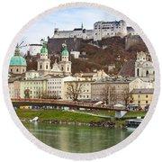 Salzburg City And Fortress  Round Beach Towel