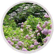 Pink Hydrangeas In Mirabell Garden Round Beach Towel
