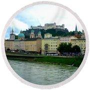Salzburg Over The Danube Round Beach Towel by Carol Groenen