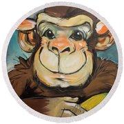 Sam The Monkey Round Beach Towel