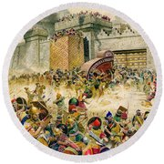 Samaria Falling To The Assyrians Round Beach Towel