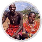 Samburu Couple Round Beach Towel