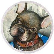 Sammy The French Bulldog Round Beach Towel