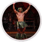 Samoan Warrior Round Beach Towel
