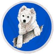 Samoyed Puppy Round Beach Towel