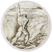 Samson Slaying The Philistines With The Jawbone Of An Ass Round Beach Towel