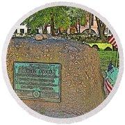 Samuel Adams Gravestone At Granary Burying Ground In  Boston-massachusetts Round Beach Towel