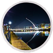 Samuel Beckett Bridge 2 Round Beach Towel