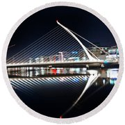 Samuel Beckett Bridge 3 V2 Round Beach Towel
