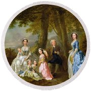 Samuel Richardson Seated With His Family Round Beach Towel