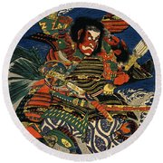 Samurai Warriors Battle 1819 Round Beach Towel