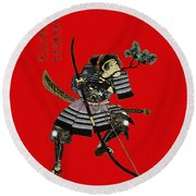 Samurai With Bow Round Beach Towel
