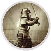 Samurai With Raised Sword Round Beach Towel