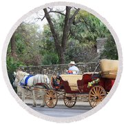San Antonio Carriage Round Beach Towel