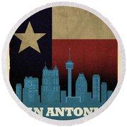San Antonio City Skyline State Flag Of Texas Art Poster Series 022 Round Beach Towel