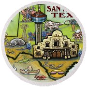 San Antonio Texas Round Beach Towel