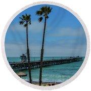San Clemente Peir Round Beach Towel