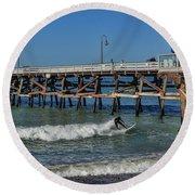 San Clemente Surfing Round Beach Towel