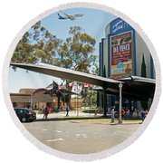 San Diego Air And Space Museum Round Beach Towel