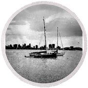 San Diego Bay Sailboats Round Beach Towel
