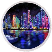 San Diego Harbor Round Beach Towel