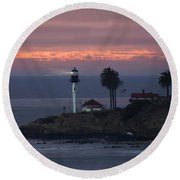 San Diego Lighthouse Round Beach Towel
