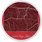 San Diego State Street Map - San Diego State University San Dieg Round Beach Towel